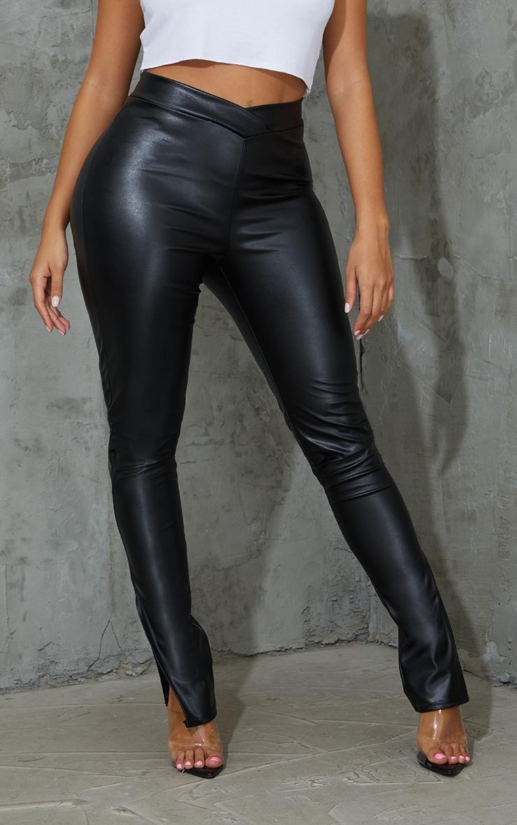 Shape Black PU V Front Ruched Bum Split Hem Pants 2