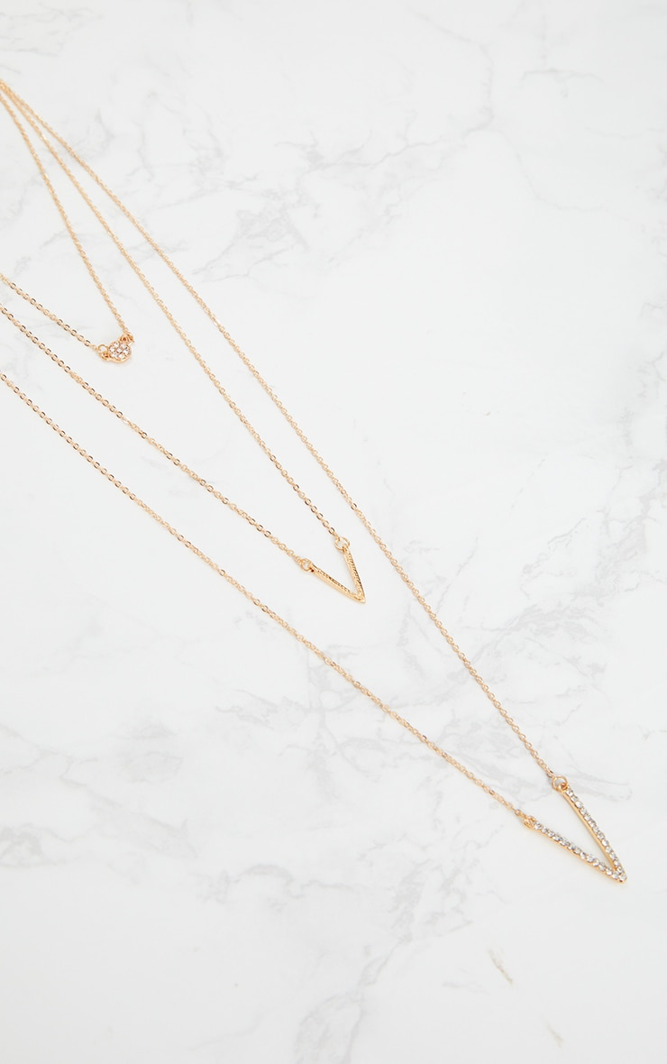 Silver Thin Triple Chain Necklace 1
