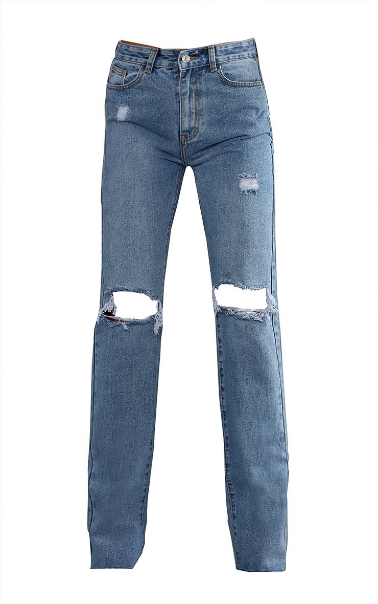 PRETTYLITTLETHING Tall Mid Blue Wash Ripped Long Leg Straight Jeans 5