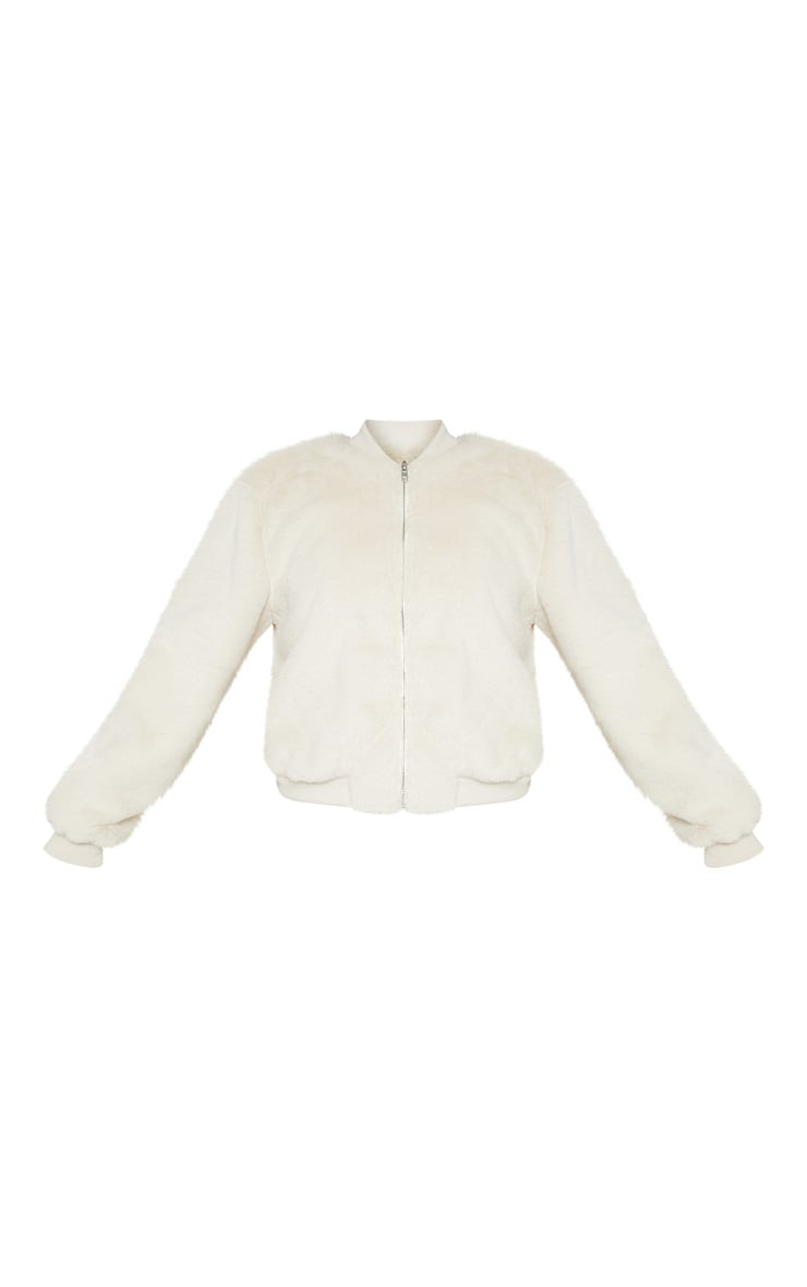 Cream Faux Fur Cropped Bomber  3