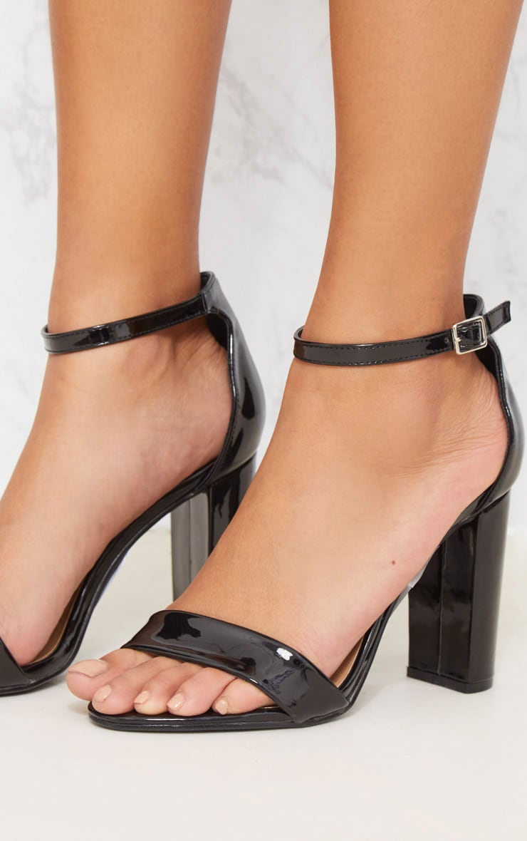 Black Patent Block Heel Strappy Sandal 5