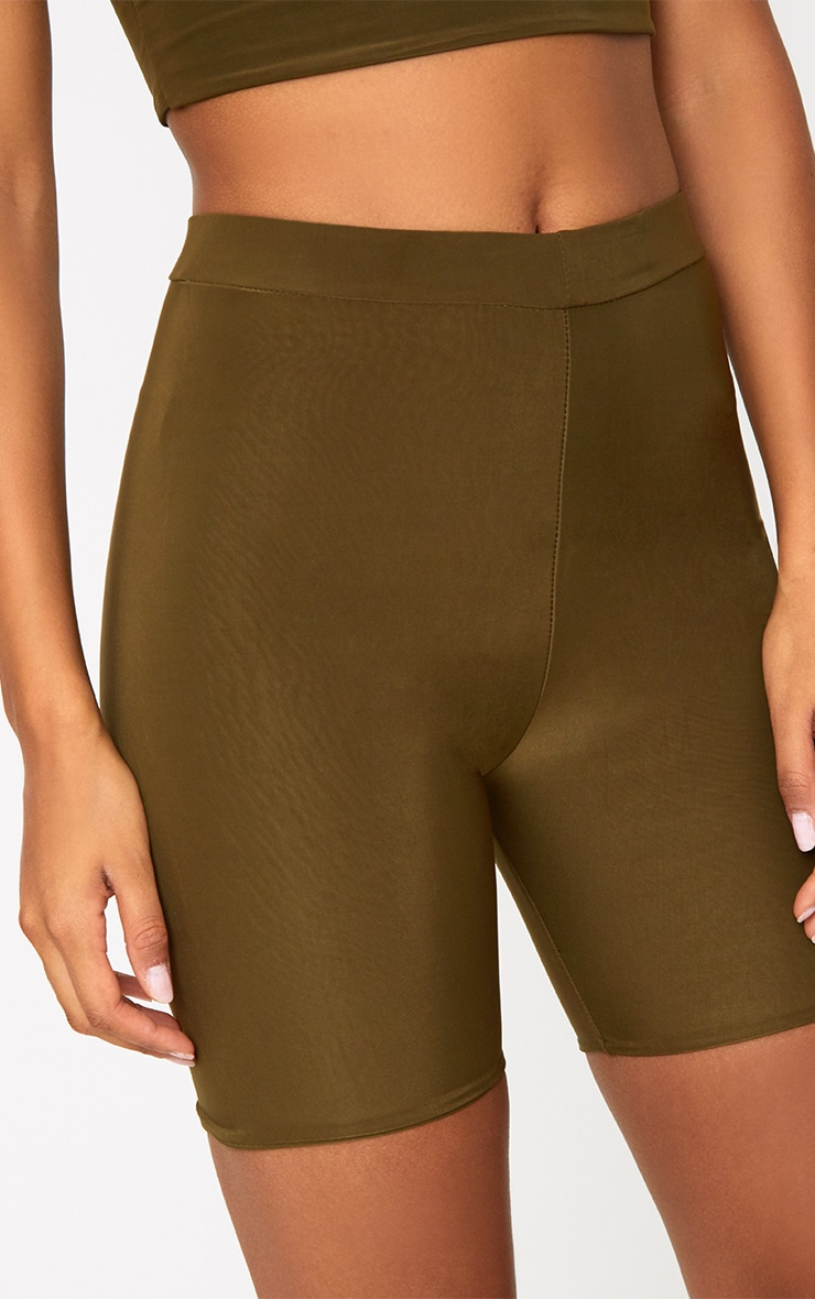Bella Khaki Slinky High Waisted Cycle Shorts 6