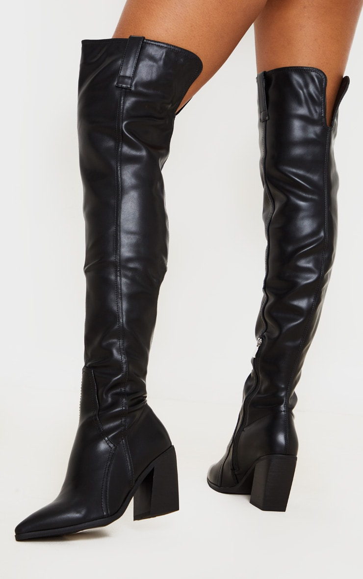 Black Block Heel Thigh High Western Boot 2