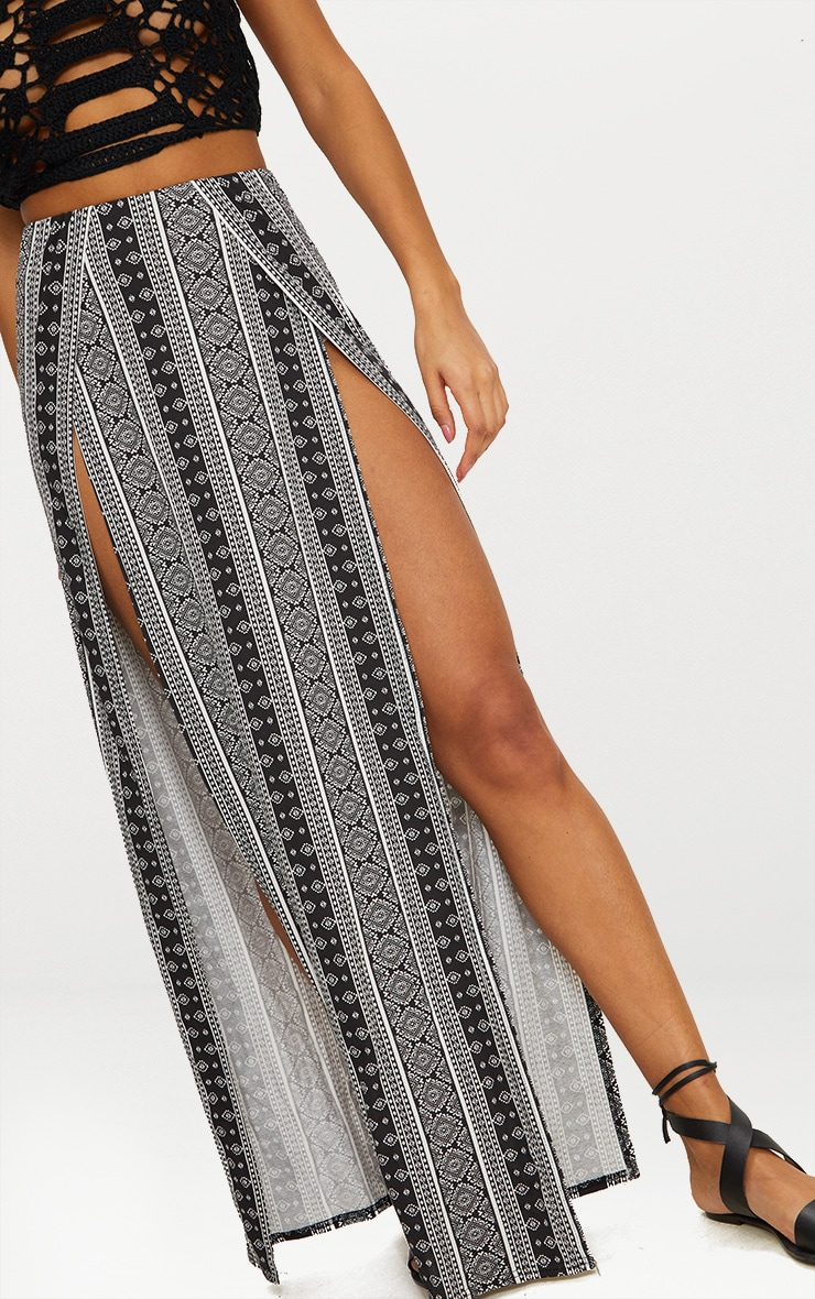 Black Festival Print Double Split Maxi Skirt 4