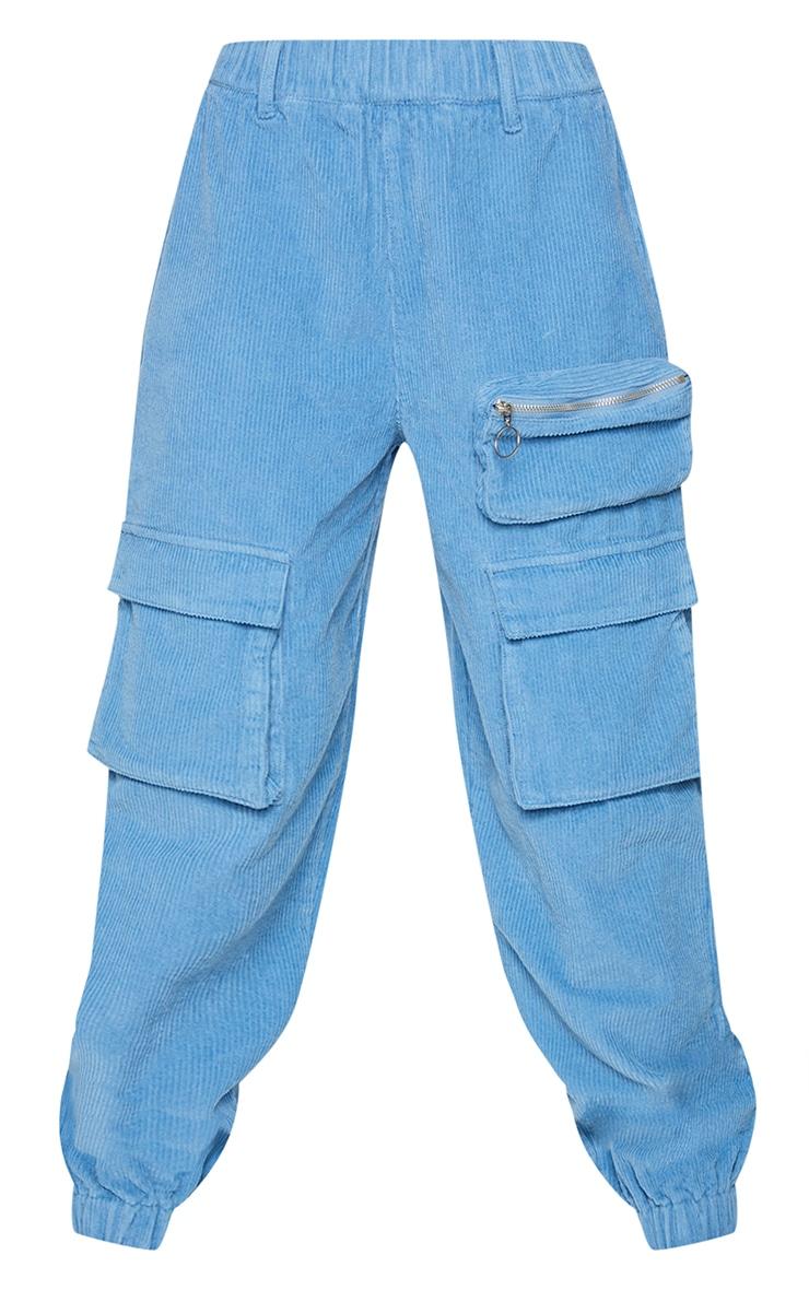 Blue Velour Cord Cargo Pants 5