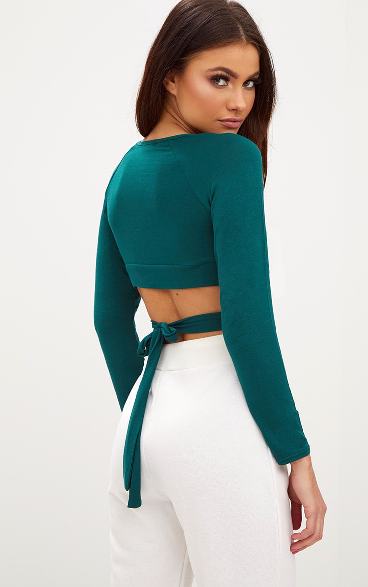Forest Green Cross Front Longsleeve Crop Top  2