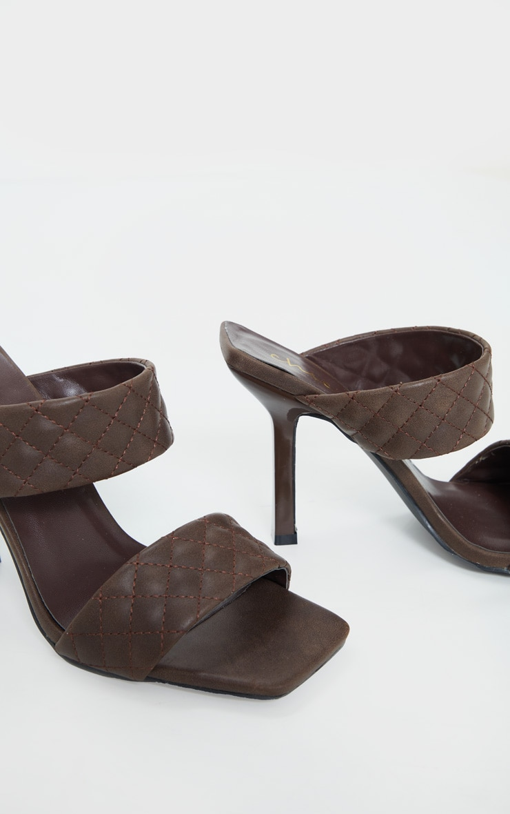 Chocolate Twin Strap Quilted Mule Heels 4