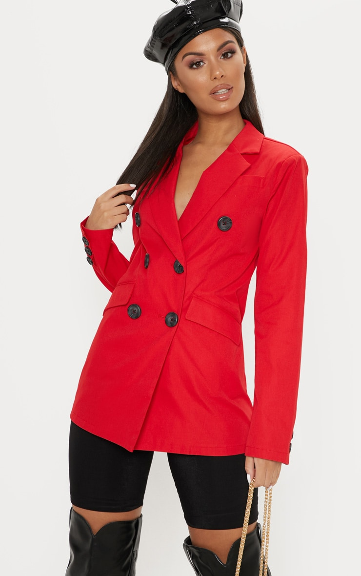 Red Triple Breasted Blazer  1