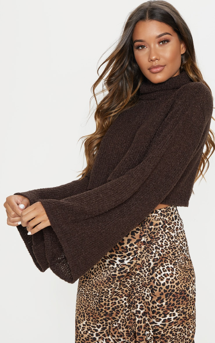 mocha knitted roll neck cropped sweater