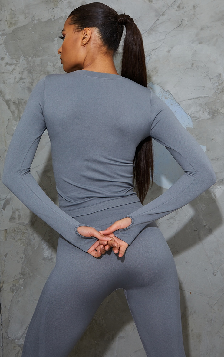 Grey Basic Detail Seamless Gym Top 2