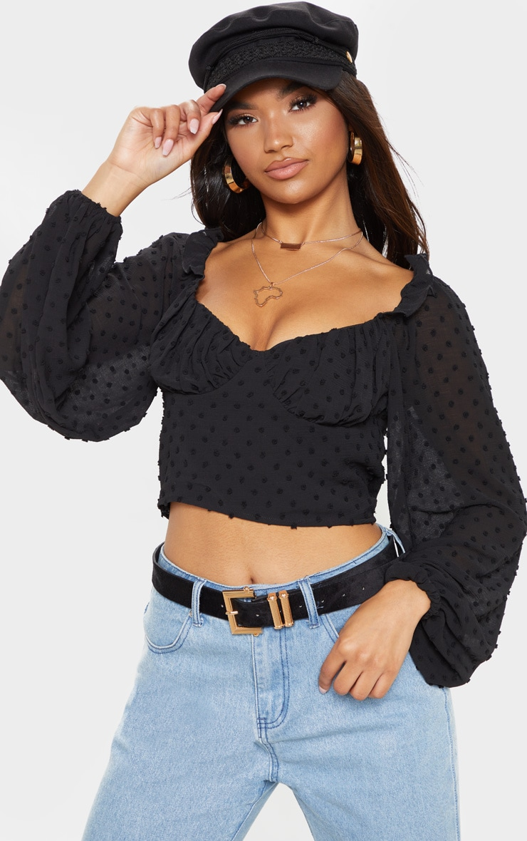 Black Dobby Mesh Cup Detail Long Sleeve Crop Top 1