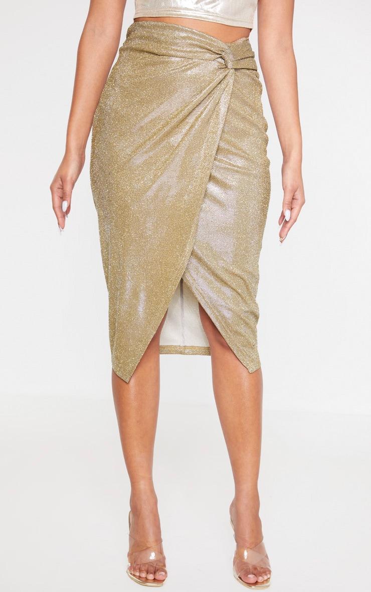Gold Glitter Knot Front Midi Skirt 2