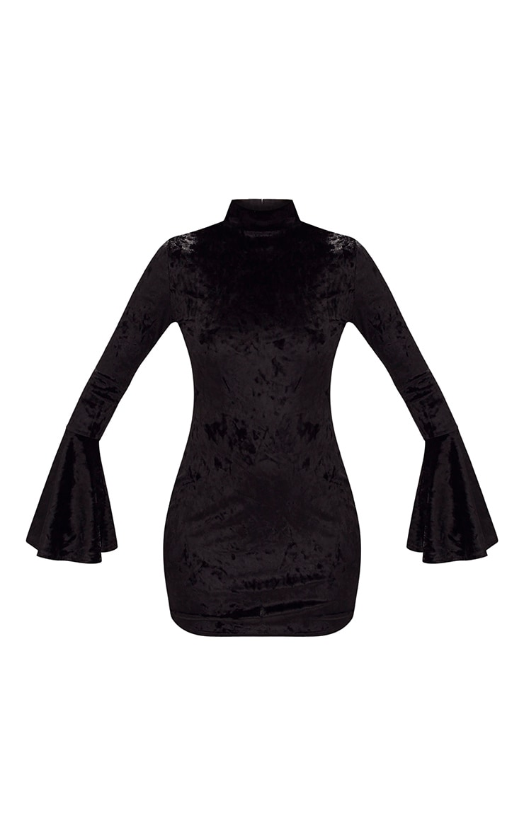 Black Crushed Velvet High Neck Bell Sleeve Bodycon Dress 3