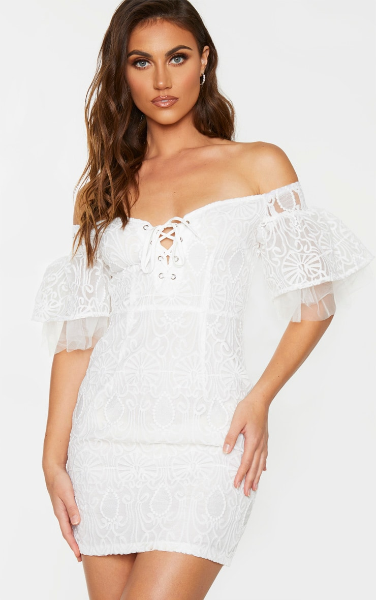 White Embroidered Frill Sleeve Lace Up Bodycon Dress 1