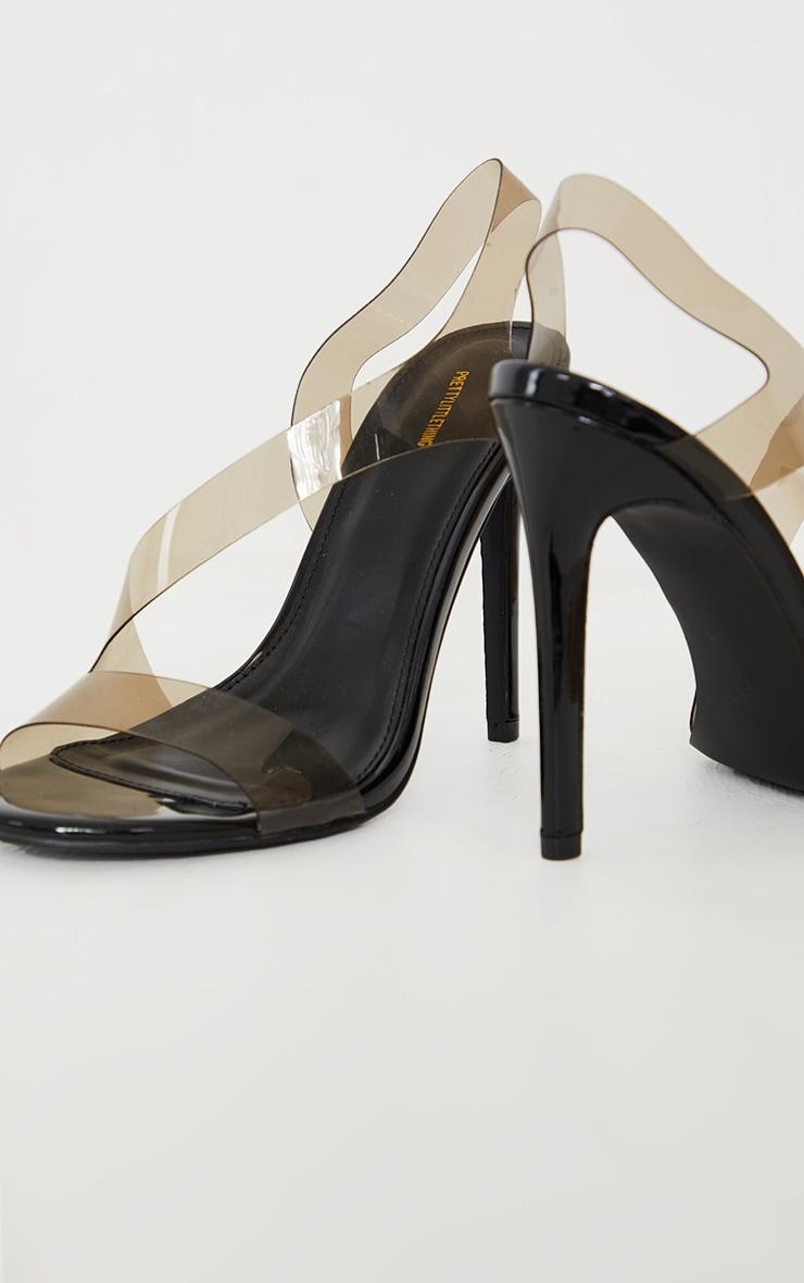 Black Clear Asymmetric Strap Heeled Sandals 4
