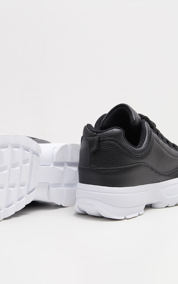 Black Chunky Cleated Sole Sneakers 4