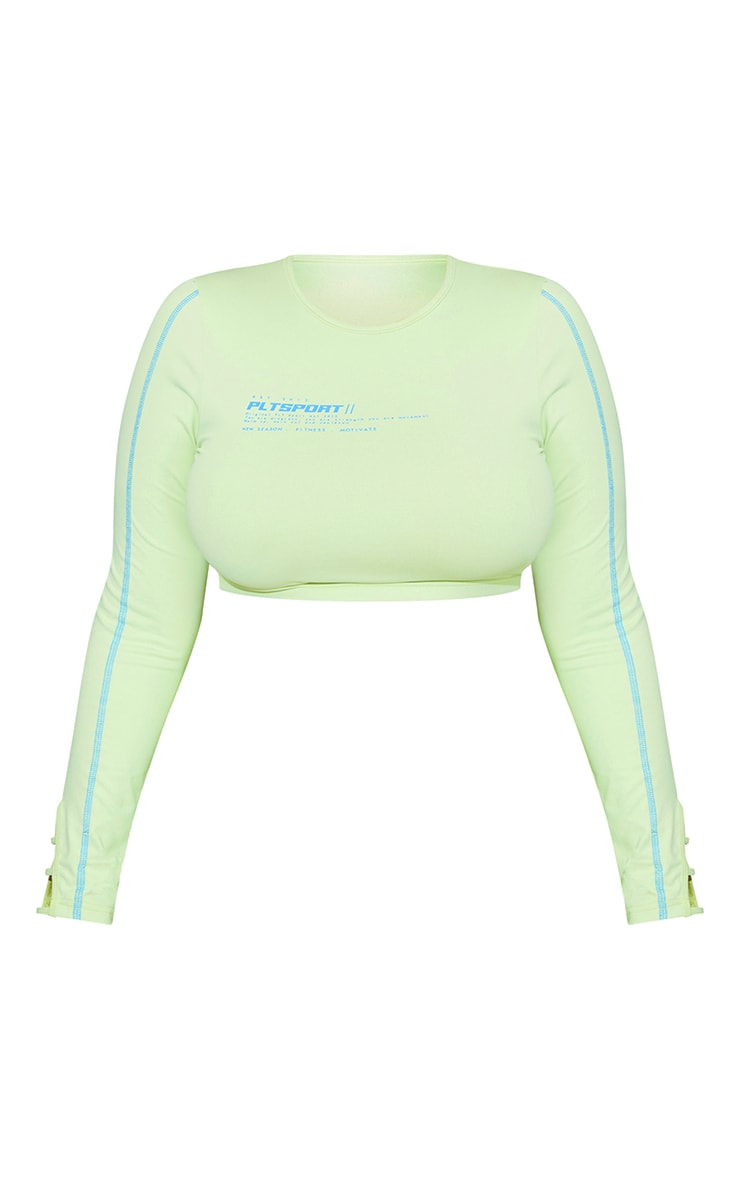 Plus Lime Cut Out Piping Detail Long Sleeve Cropped Gym Top 5