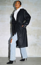 Black Faux Leather Removable Sleeves Trench 3