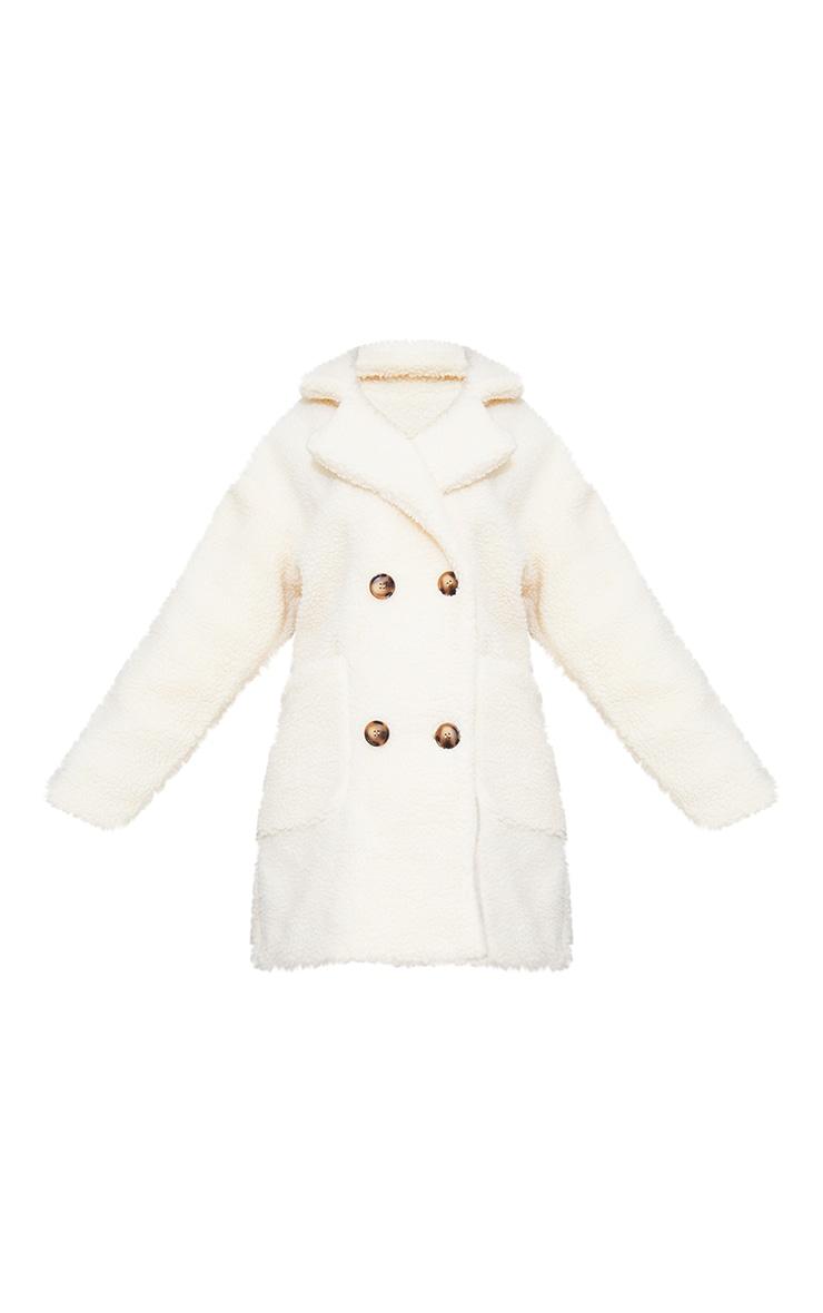 Manteau mi-long en imitation peau de mouton crème 5