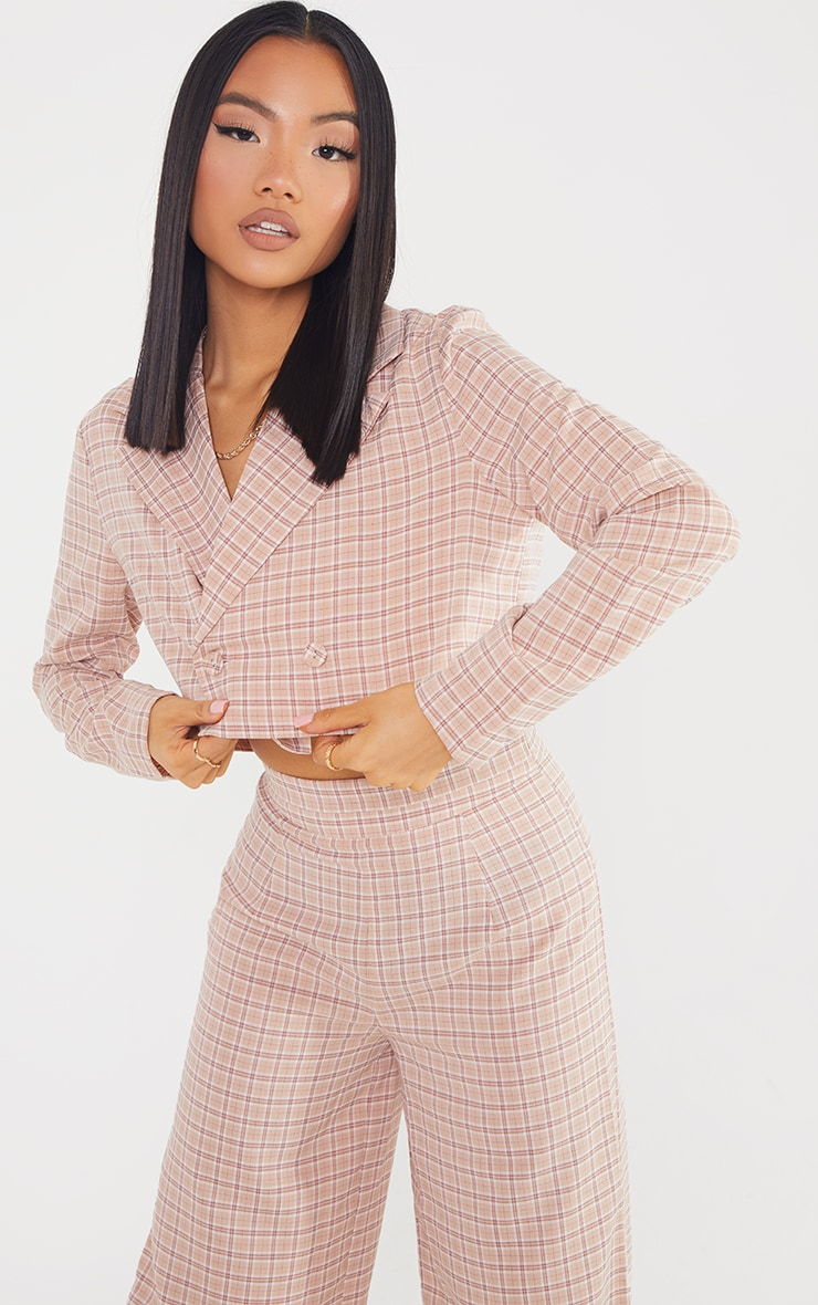 Petite Stone Check Cropped Double Breasted Blazer 1