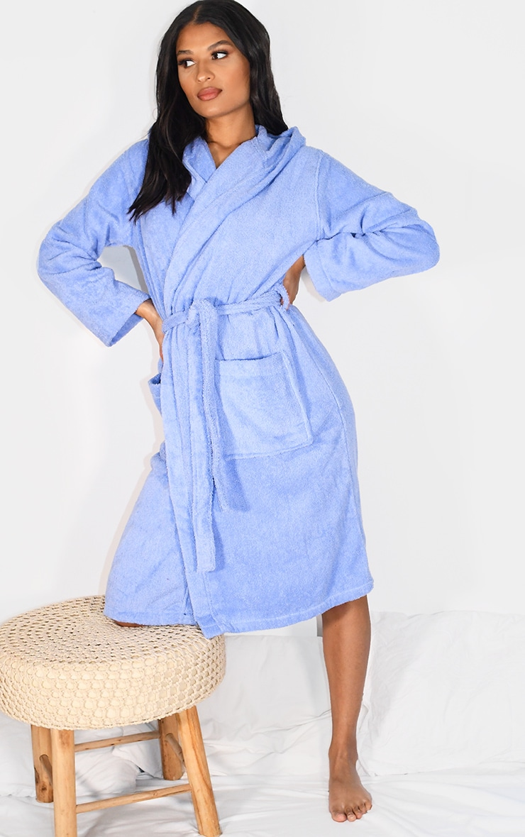 Blue Hooded Towelling Dressing Gown 3