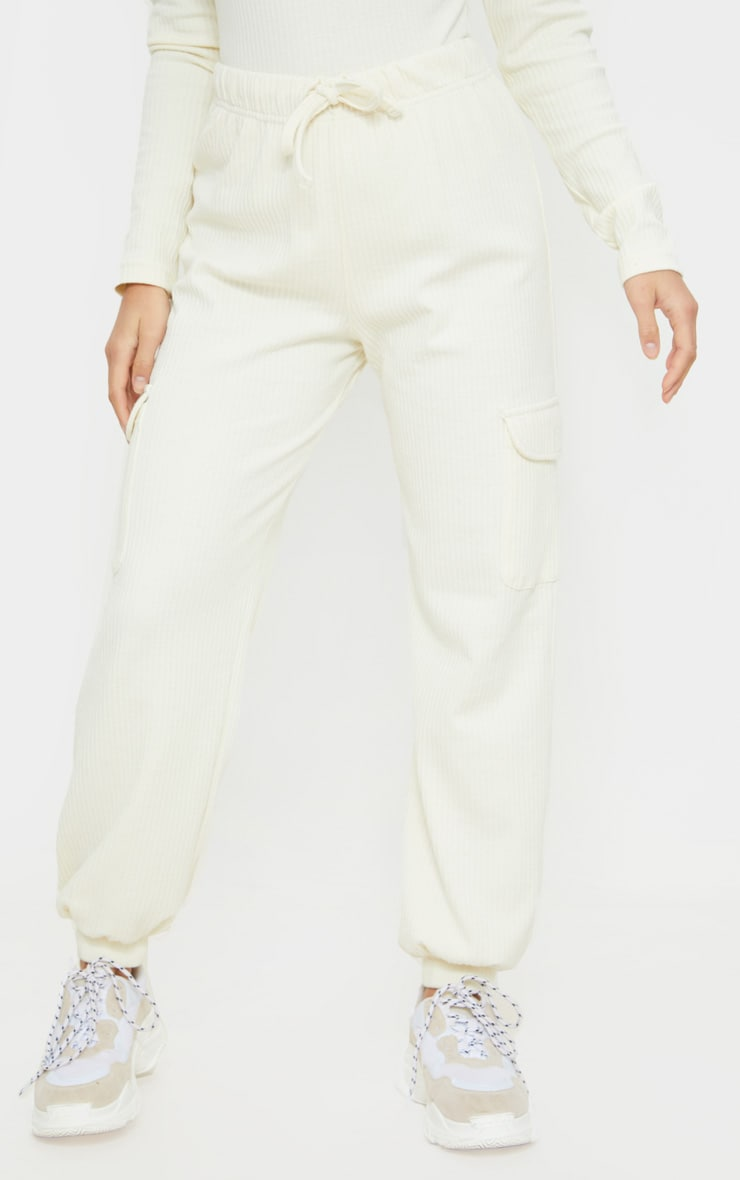 Petite Cream Cargo Detail Ribbed Joggers 2