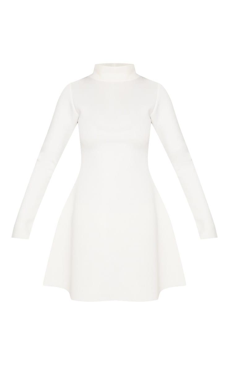 White Bonded Scuba Funnel Neck Skater Dress 3
