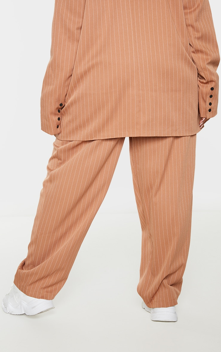 Plus Brown Pinstripe Woven High Waisted Cigarette Pants 3