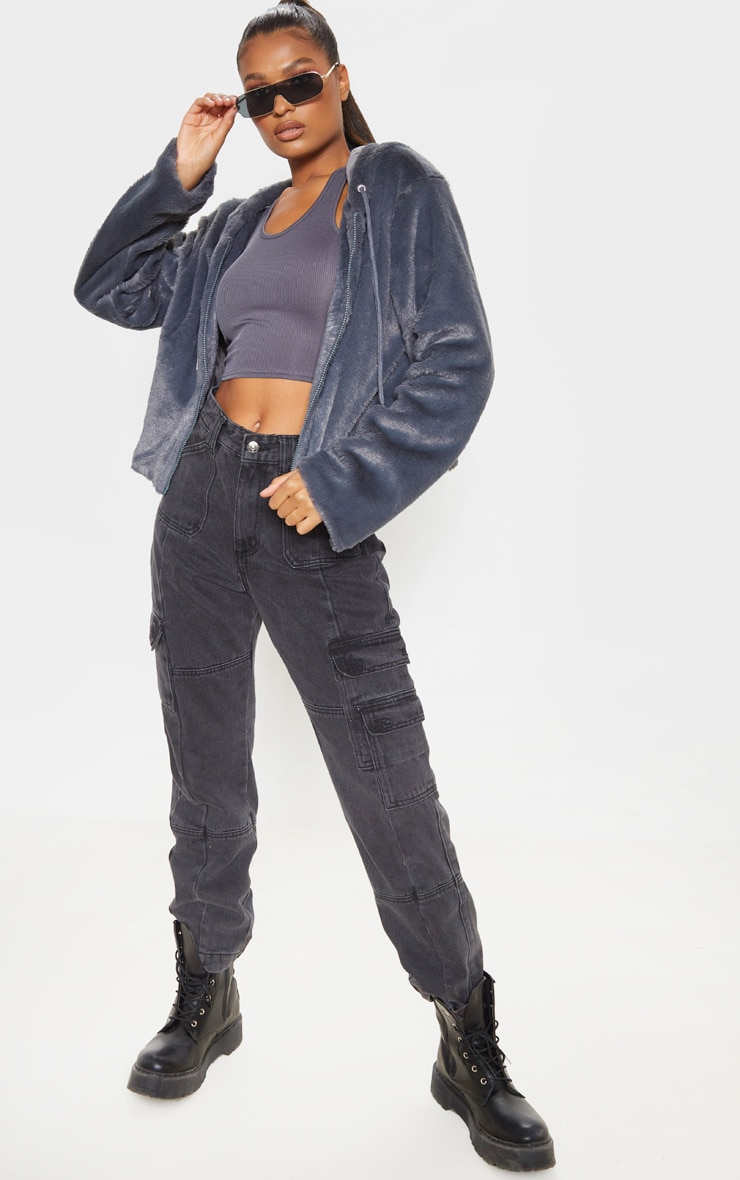 Charcoal Faux Fur Cropped Hooded Jacket  4