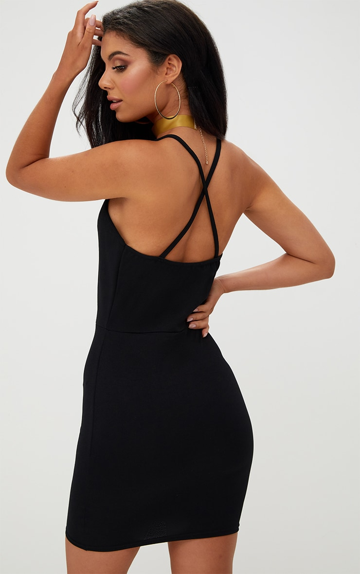 Black Strappy Front Bodycon Dress 2