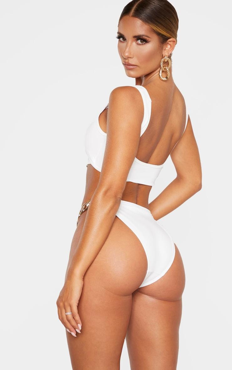 White Chunky Chain Under Bust Bikini Top 2