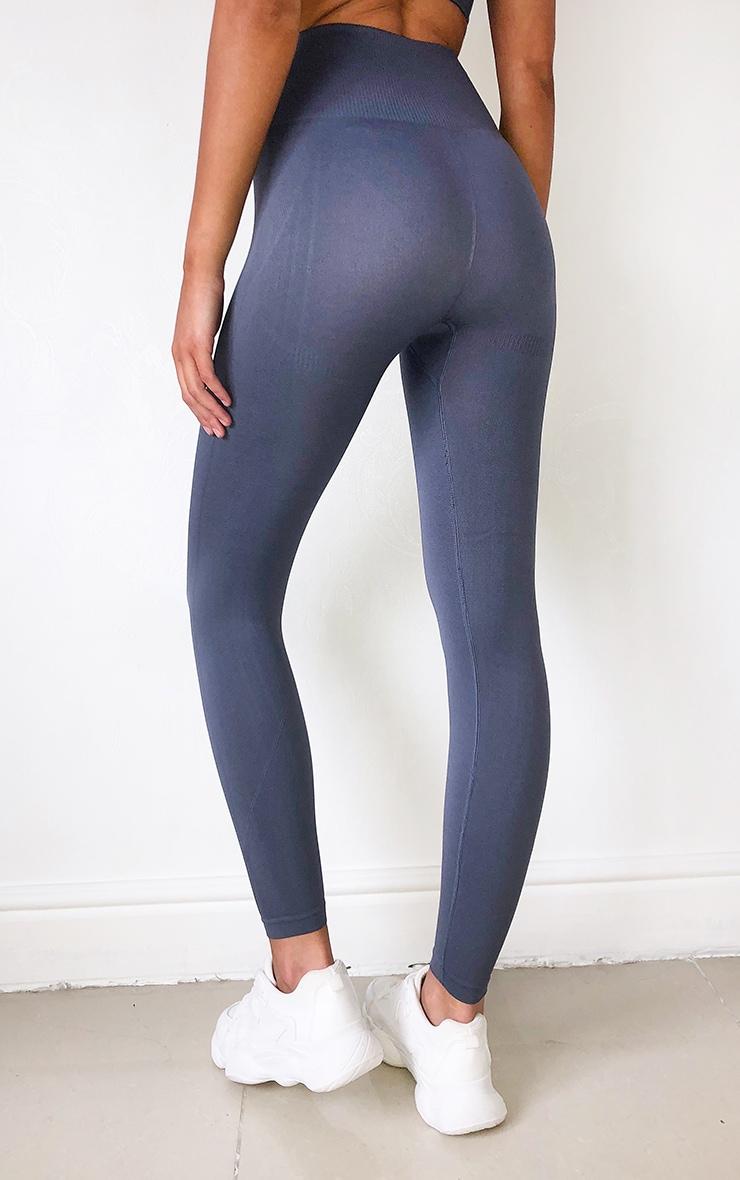 Grey High Waist Seamless Gym Leggings 3