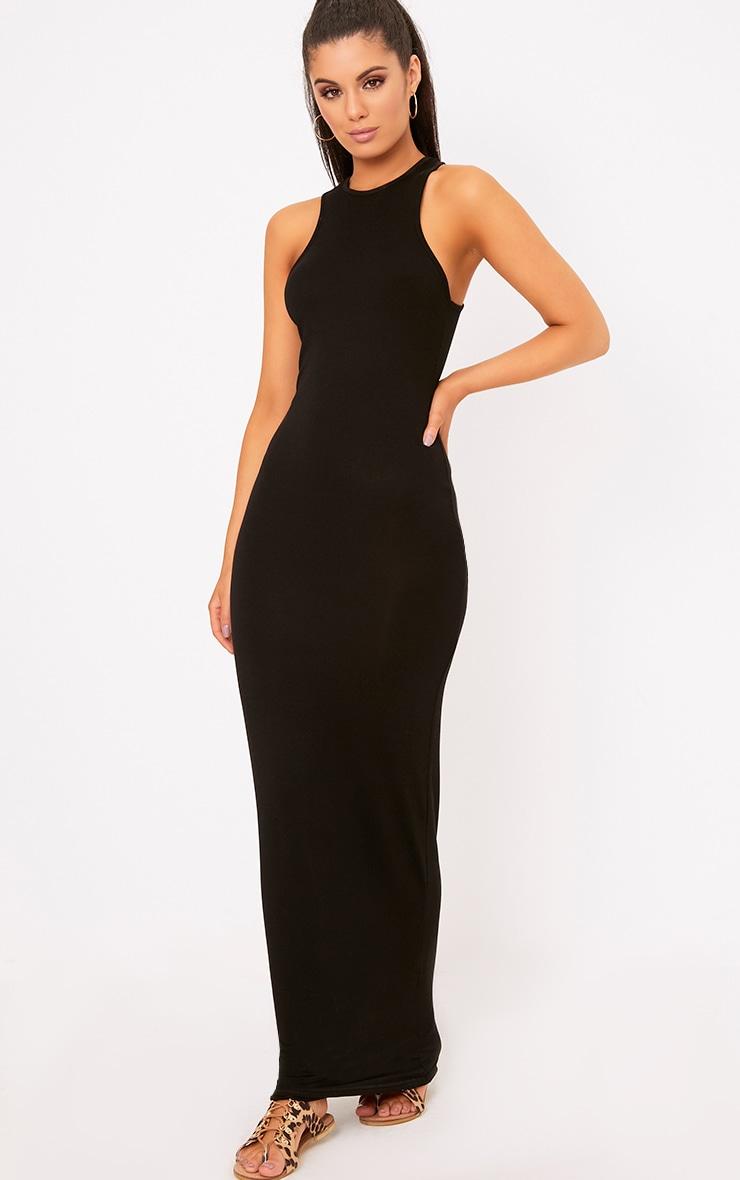 Black Jersey Racer Neck Maxi Dress 1