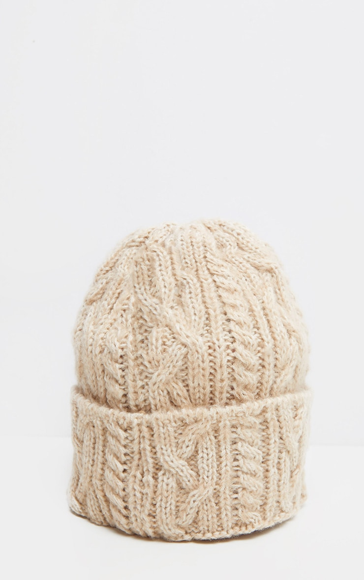 Cream Cable Knit Turn Up Beanie Hat 3