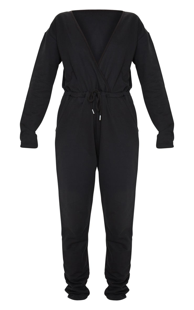 Black Wrap Over Long Sleeve Sweat Jumpsuit 5
