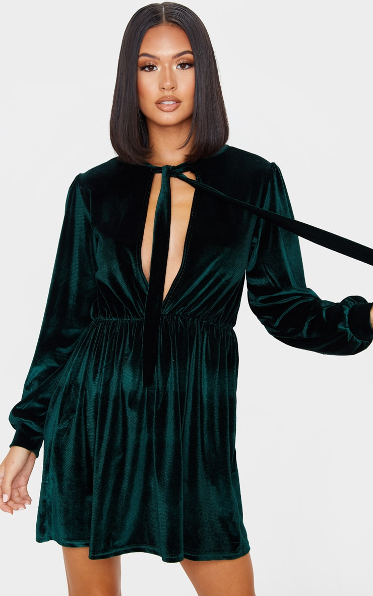 Emerald Green Velvet Key Hole Tie Neck Front Long Sleeve Shift Dress 1