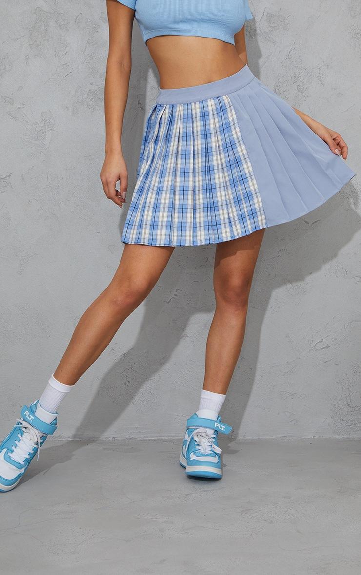 Blue Check Woven Pleated Skater Skirt 2