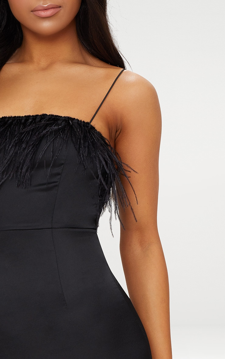 Black Strappy Satin Feather Trim Bodycon Dress 4