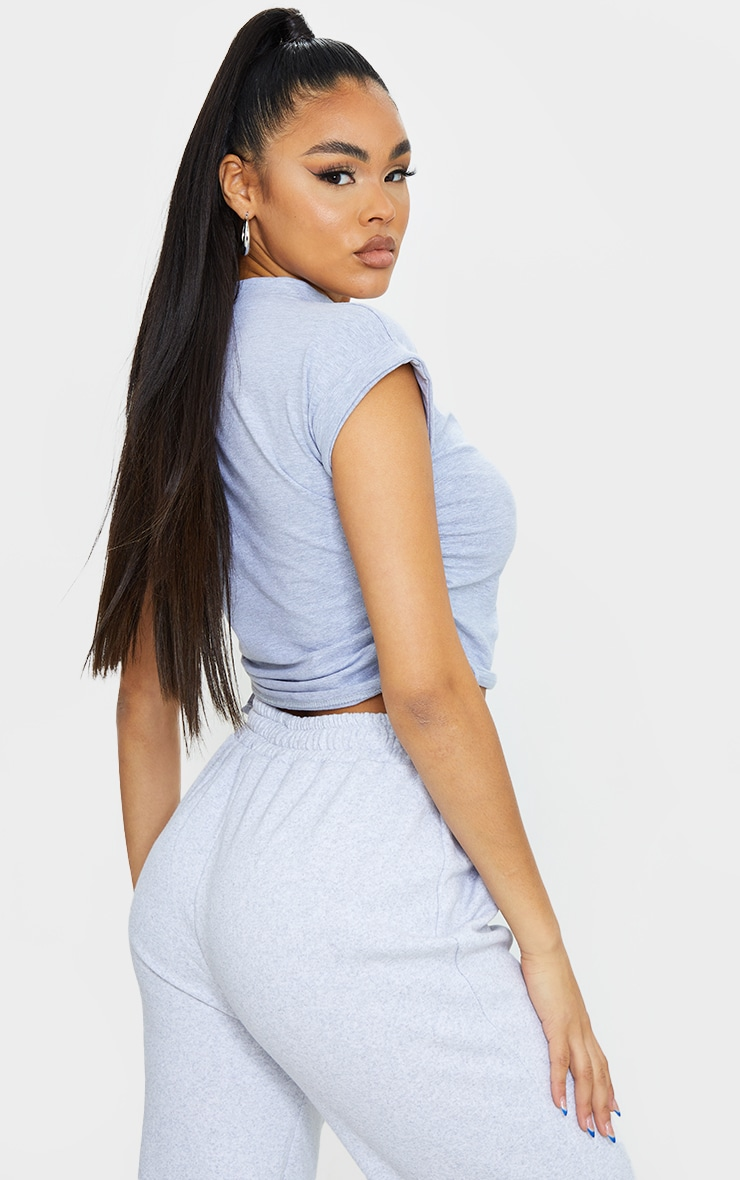 Grey Cotton Folded Sleeve Ruched Side Crop Top 2