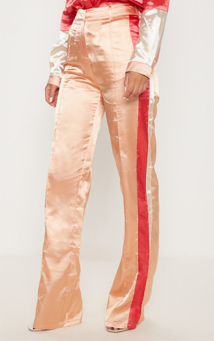 Peach Satin Contrast Stripe Wide Leg Trouser 2