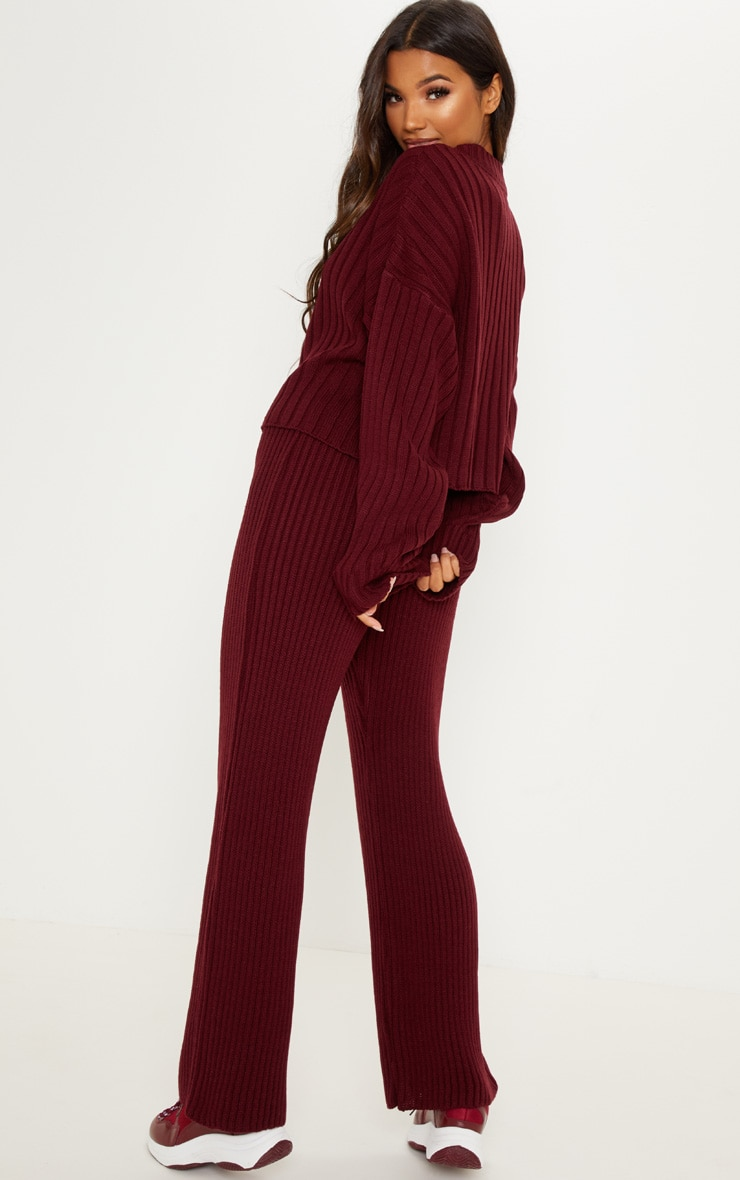 Burgundy Ribbed Knitted Oversized Sweater  2
