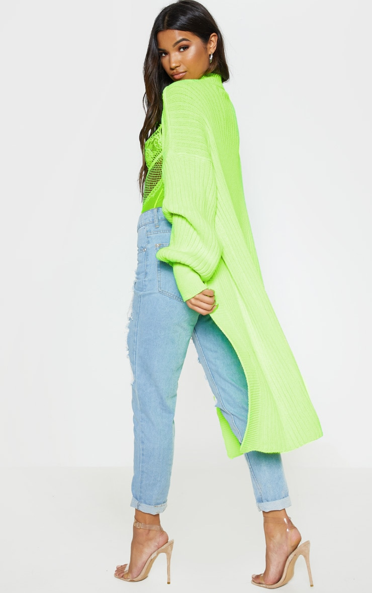 Lime Ribbed Knitted Midi Cardigan 2