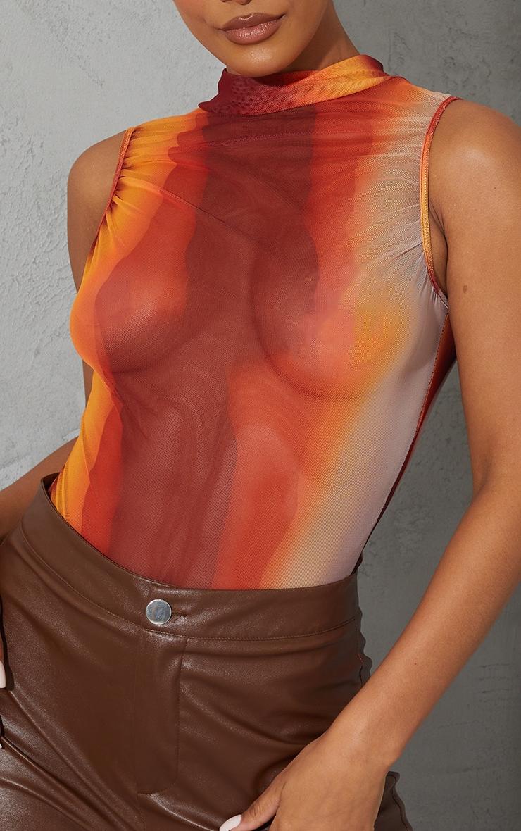 Orange Ombre Print Sheer High Neck Ruched Bodysuit 4