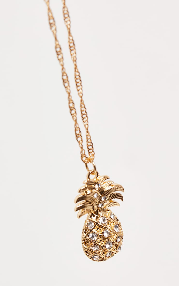 Gold Skinny Rope Chain Pineapple Charm Necklace 3