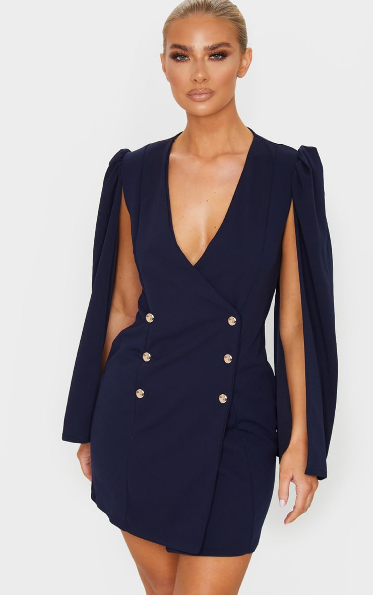 Navy Cape Button Detail Blazer Dress 1