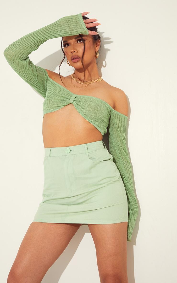 Pale Lime Linen Look Split Hem Mini Skirt 1