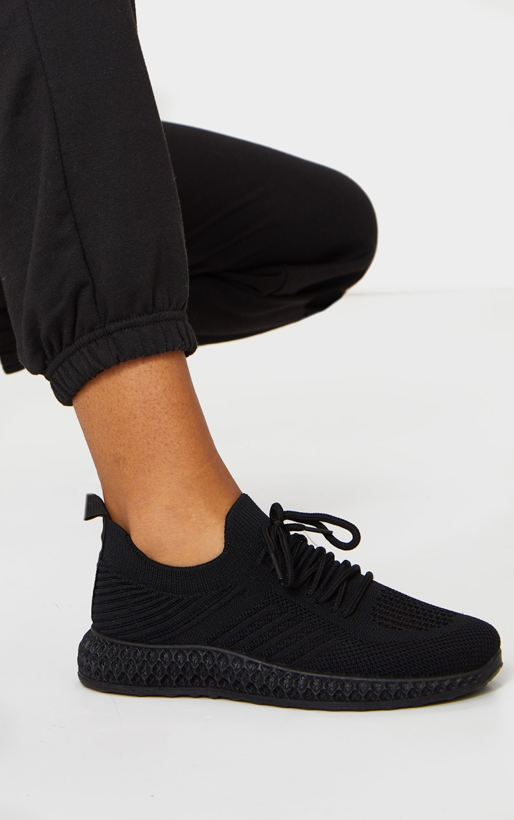 Black Knitted Lace Up Trainers 3