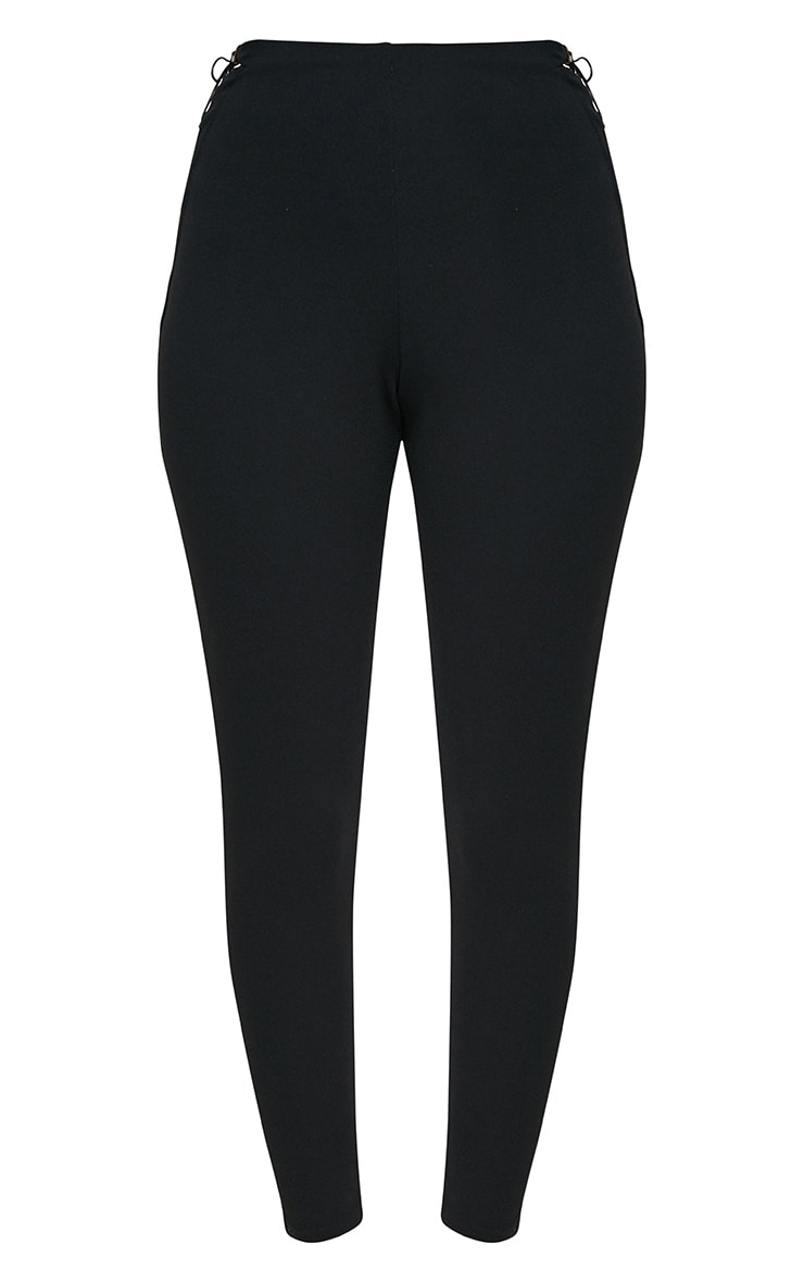 Black Lace Up Insert Skinny Trousers 3