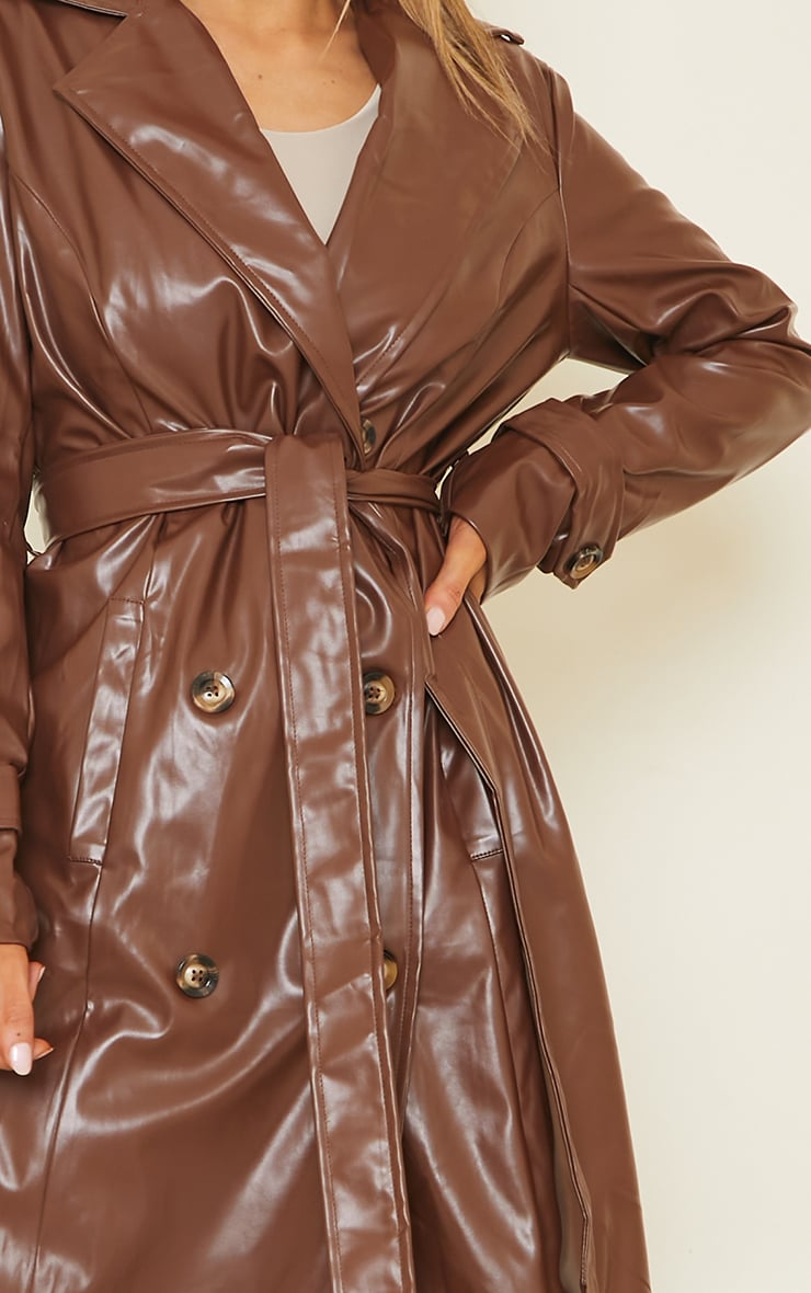 Chocolate Pu Double Breasted Maxi Trench 4