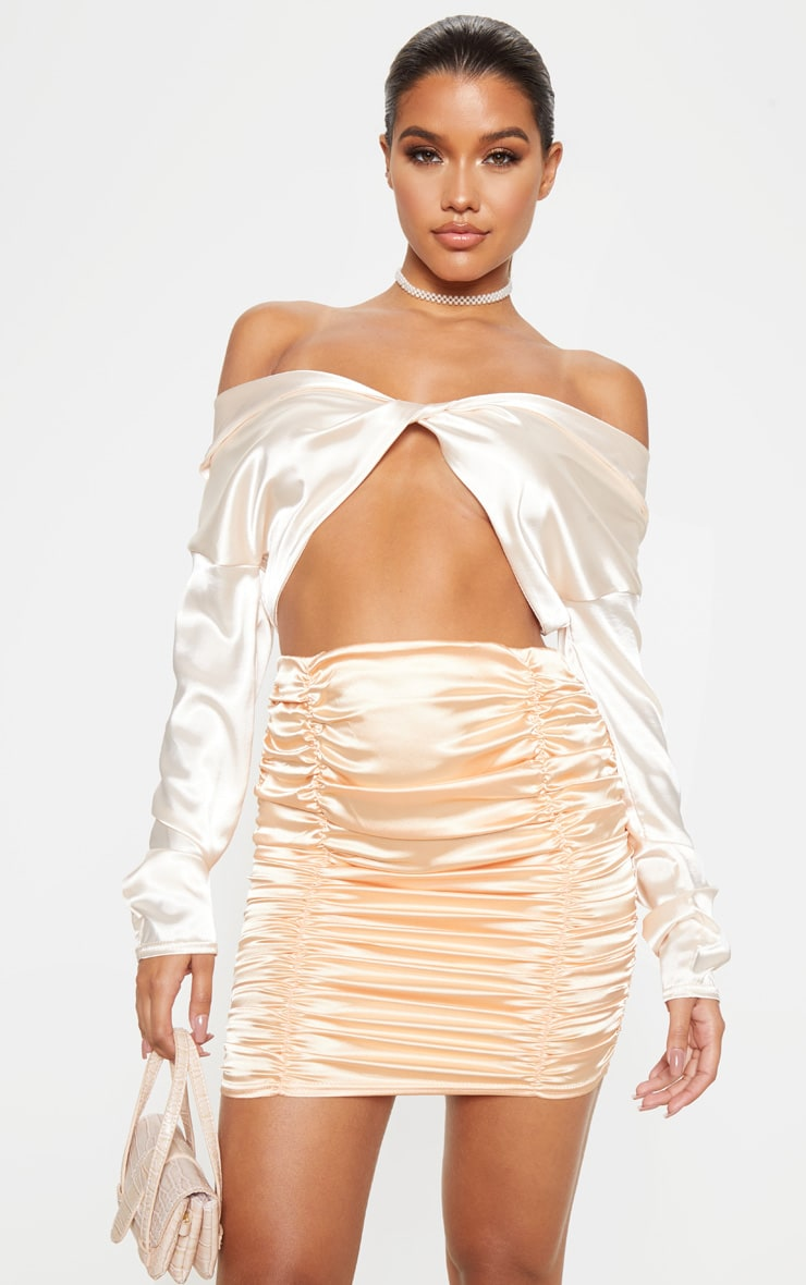 Peach Satin Ruched Detail Mini Skirt  1